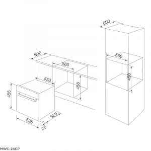 Kích thước tủ bảo quản rượu MWC-24CP