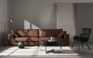 Sofa 4 chỗ Amery da Santos màu Brandy - phối cảnh