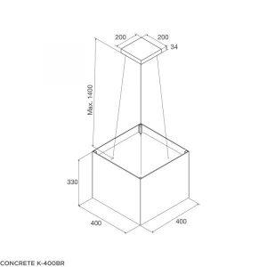 Thông số kí thuật máy hút mùi Concrete K 400BR