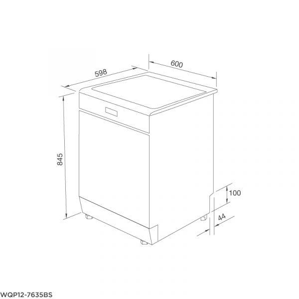 Bản vẽ kỹ thuật Máy rửa chén đứng độc lập WQP12-7635BS
