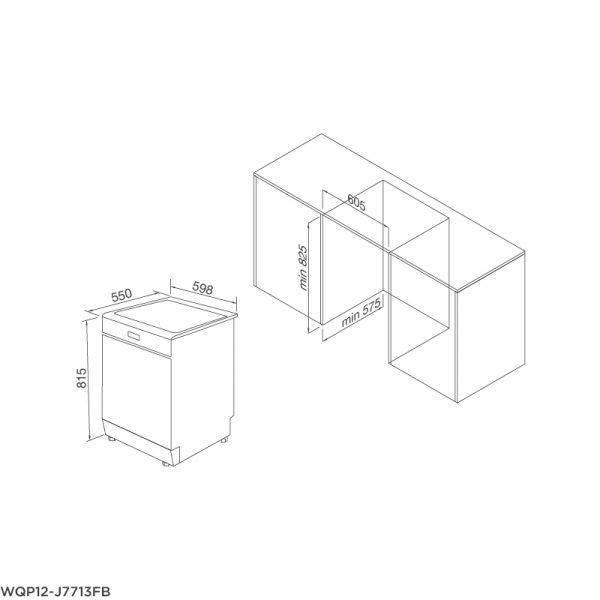 Bản vẽ kỹ thuật Máy rửa chén âm tủ hoàn toàn WQP12-J7713FB