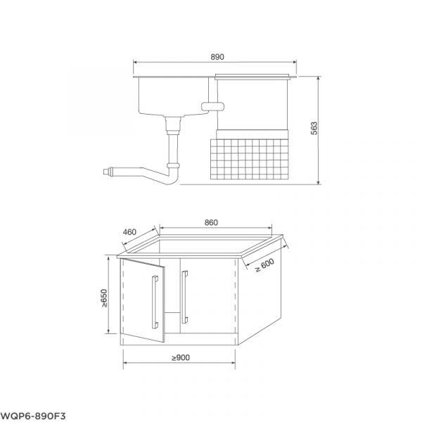 Bản vẽ kyc thuật Máy rửa chén tích hợp WQP6-890F3