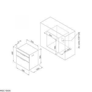 Bản vẽ kỹ thuật Máy sấy chén dĩa âm tủ MSC 1005