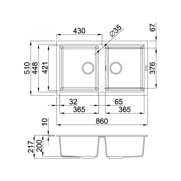 Kích thước Chậu đá NERO K-45040(K+)