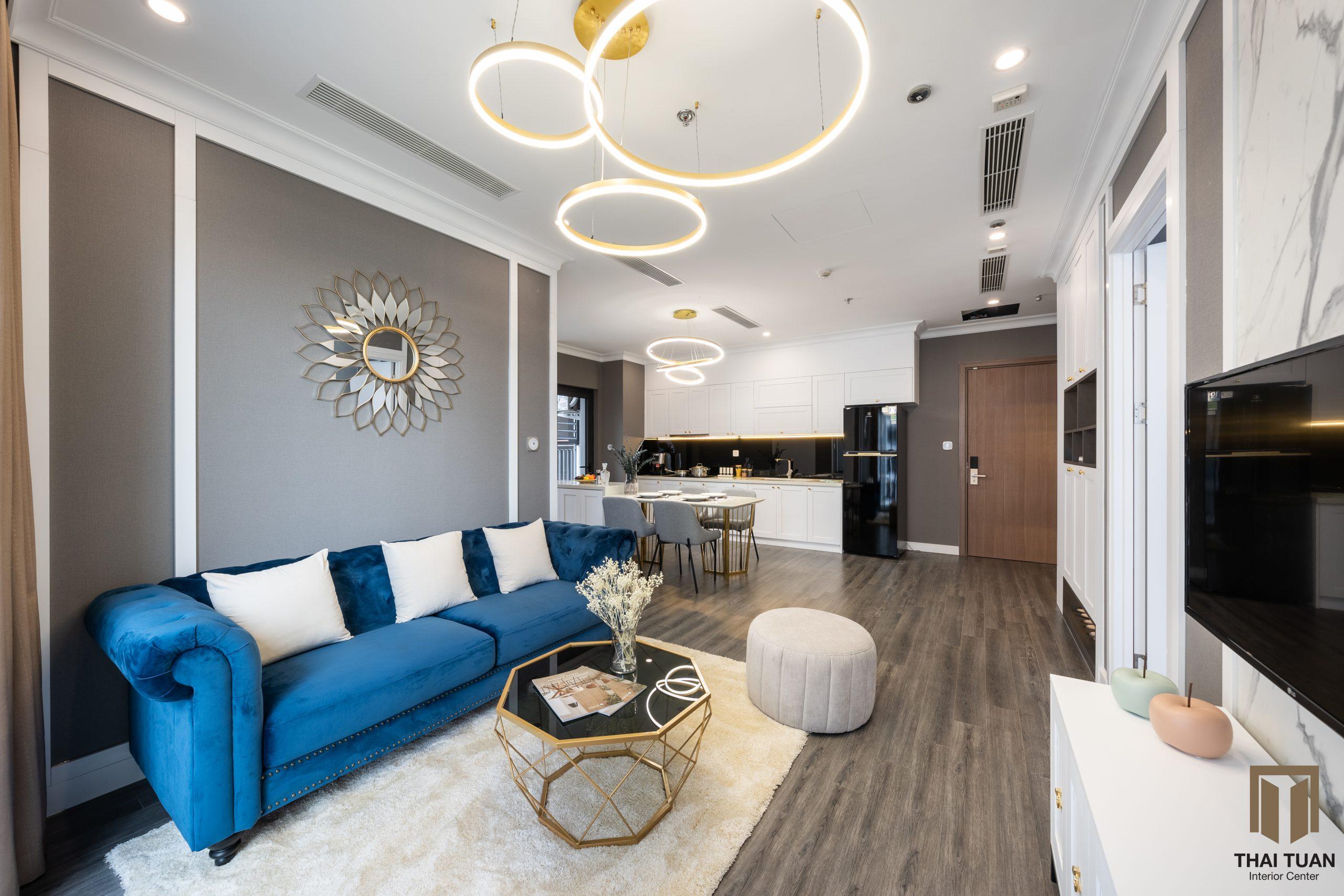 Phòng khách với chiếc Navy Blue Sofa đến từ thương hiệu AConcept