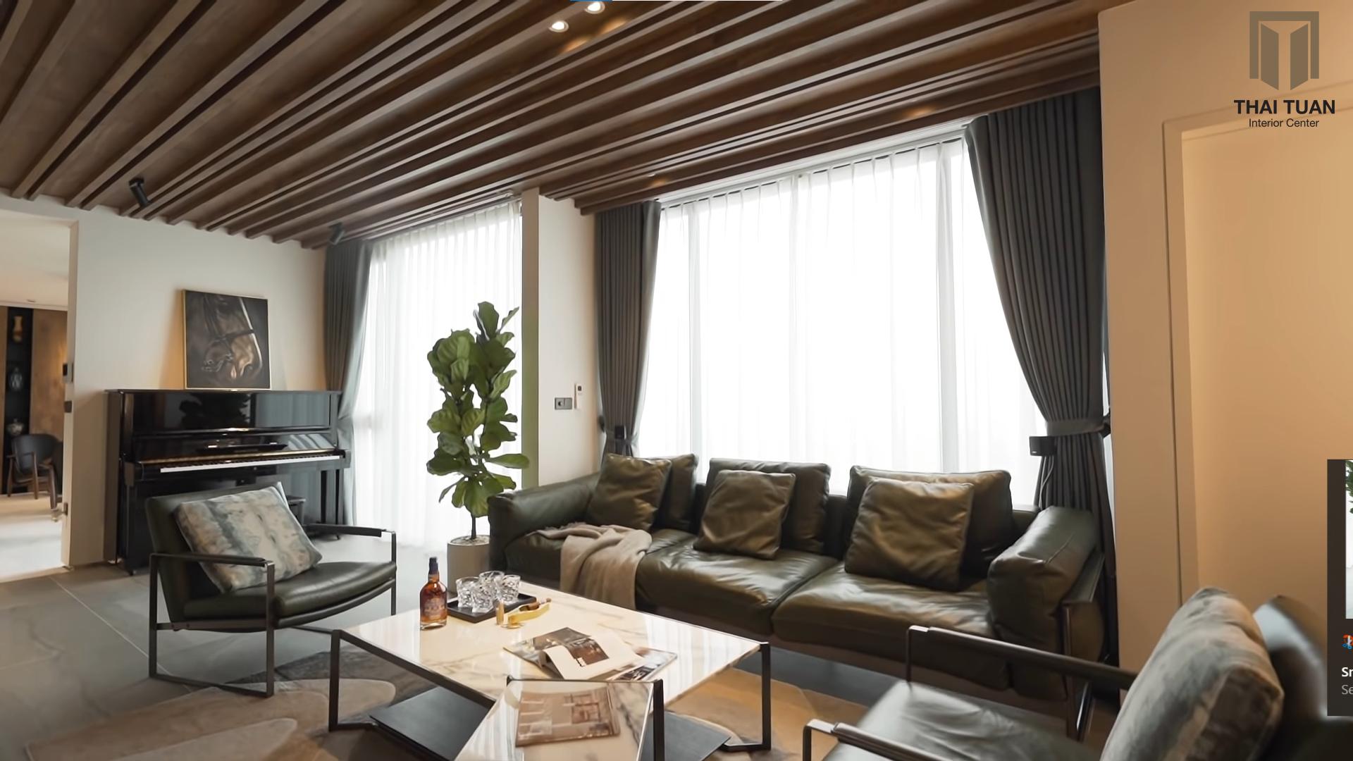 Phòng khách đầy cá tính với tone màu trầm