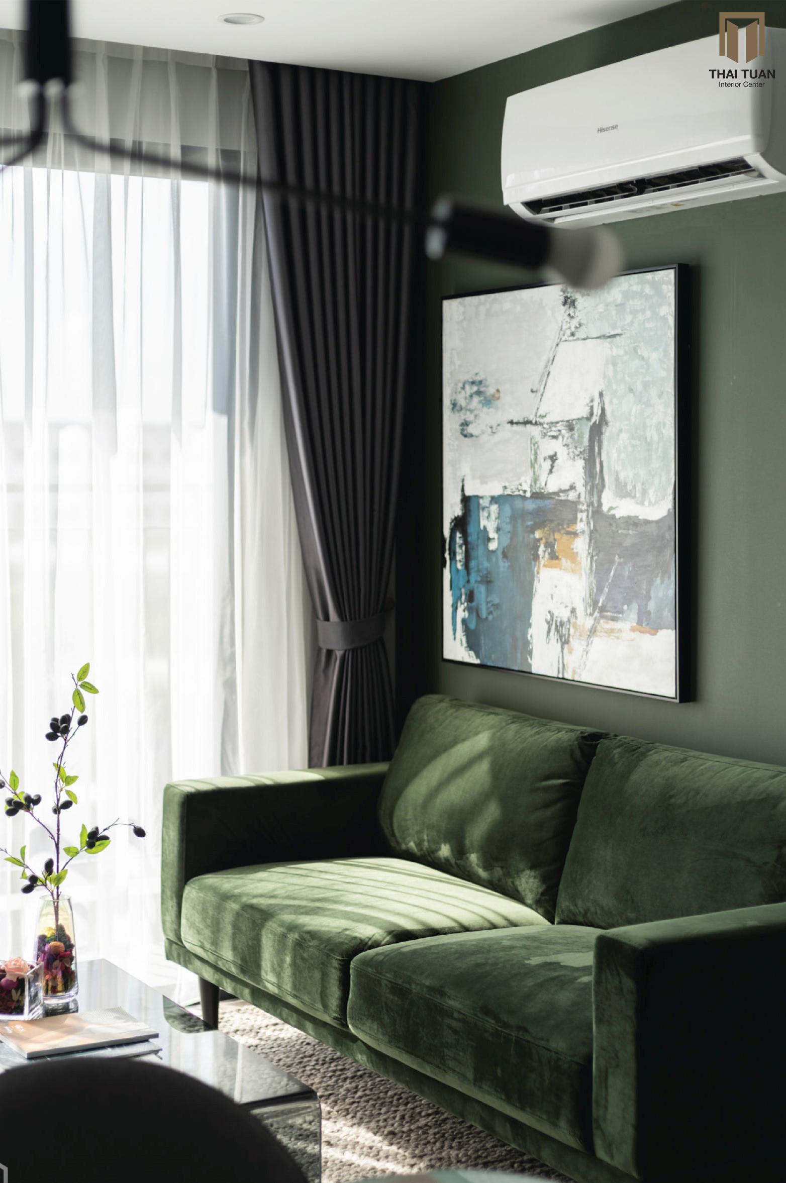 Sofa AConcept xanh lá mạ với chất liệu vải nhung cao cấp