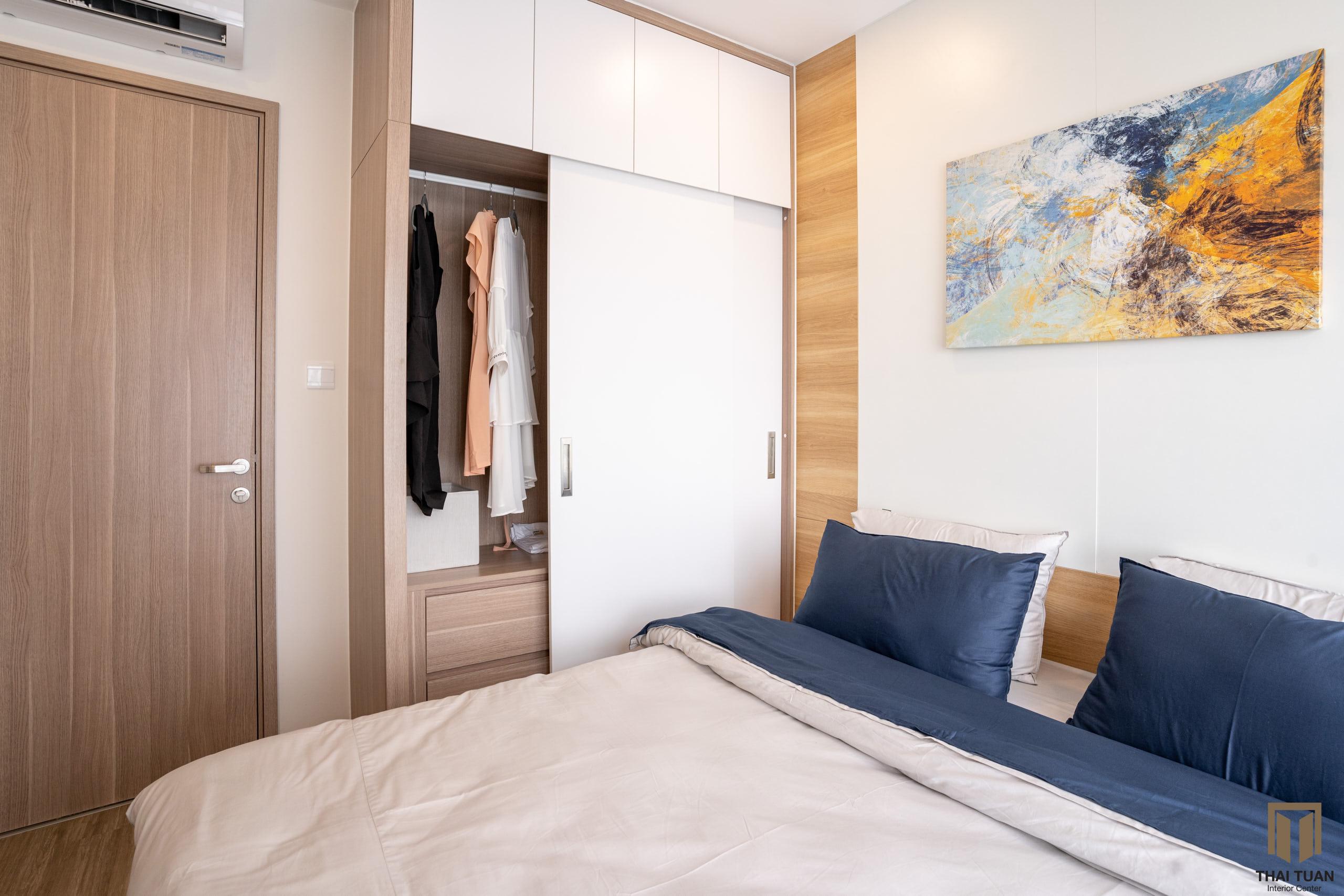 Phòng ngủ với gỗ công nghiệp sang trọng