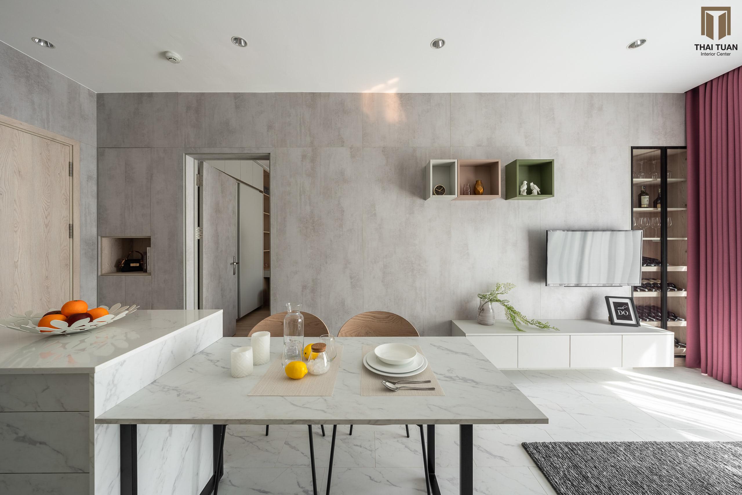Không gian phòng ăn nhã nhặn với tone màu trung tính