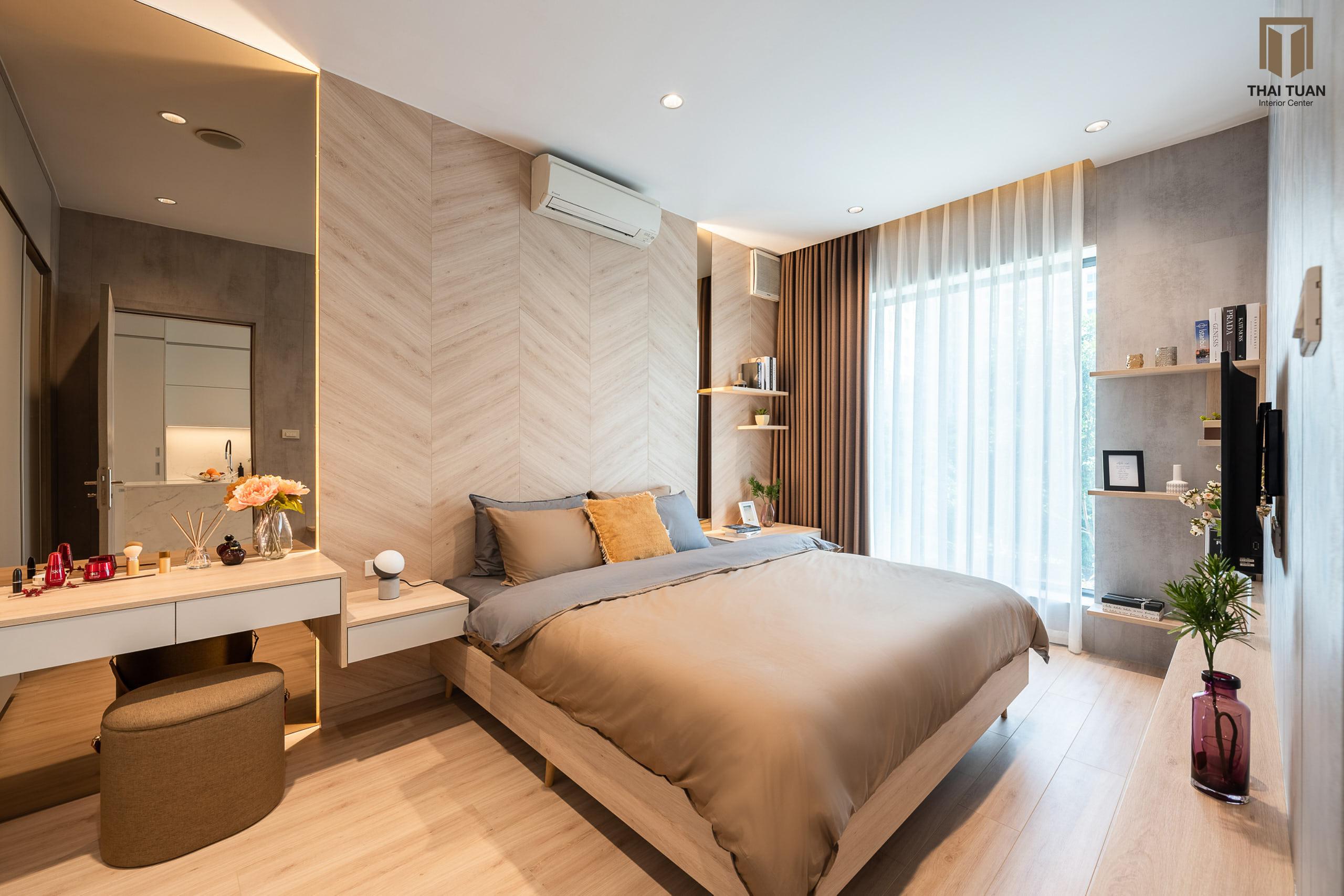Phòng ngủ ấm cúng với vật liệu gỗ làm chủ đạo