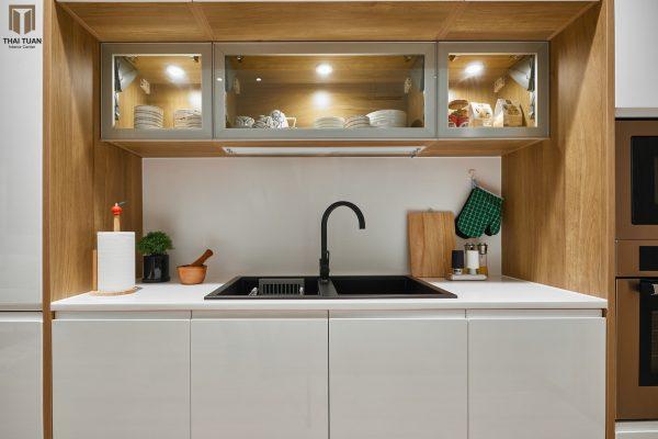 Tủ bếp chữ I với hình khối kỷ hà tối giản