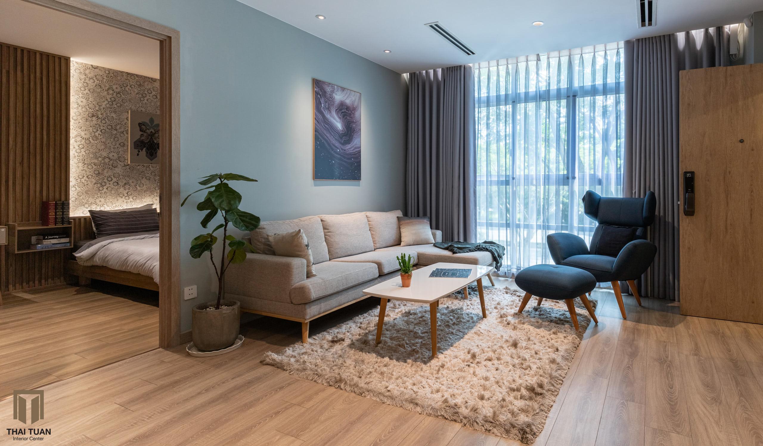 Phòng khách nhã nhặn với tone màu trung tính
