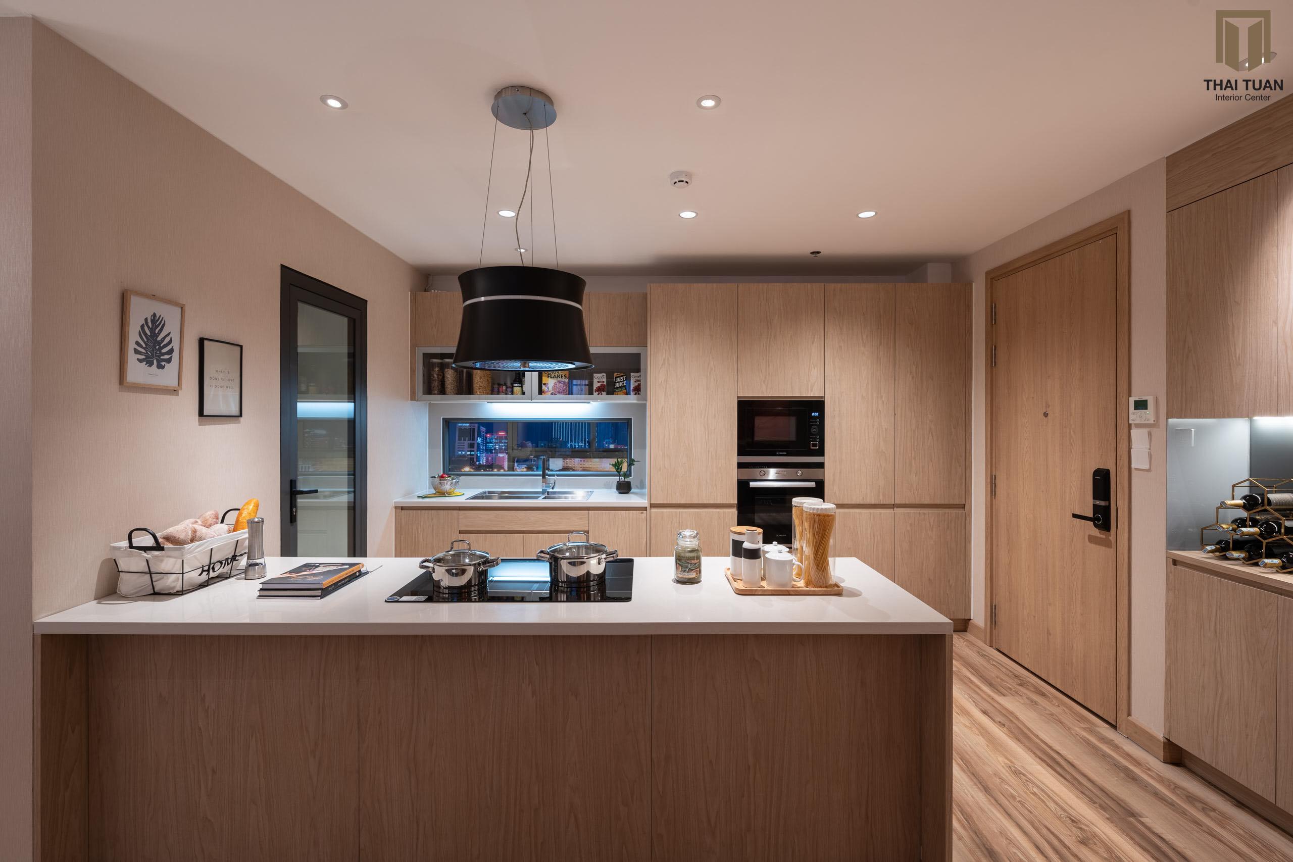 Không gian bếp ăn đồng bộ với giải pháp gỗ đồng màu