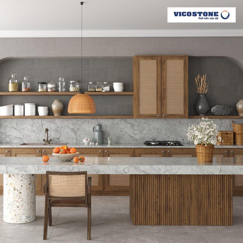 Bếp sang trọng sử dụng đá bếp Vicostone