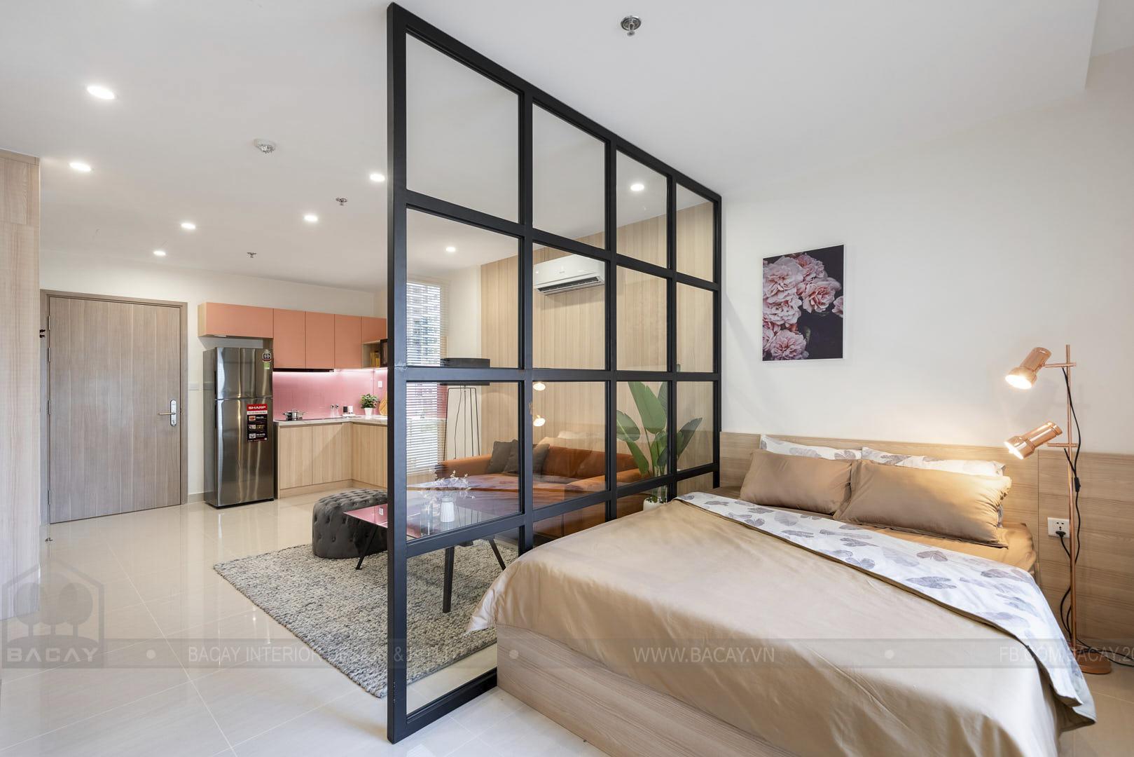 Phòng ngủ riêng tư nhờ vách ngăn kính