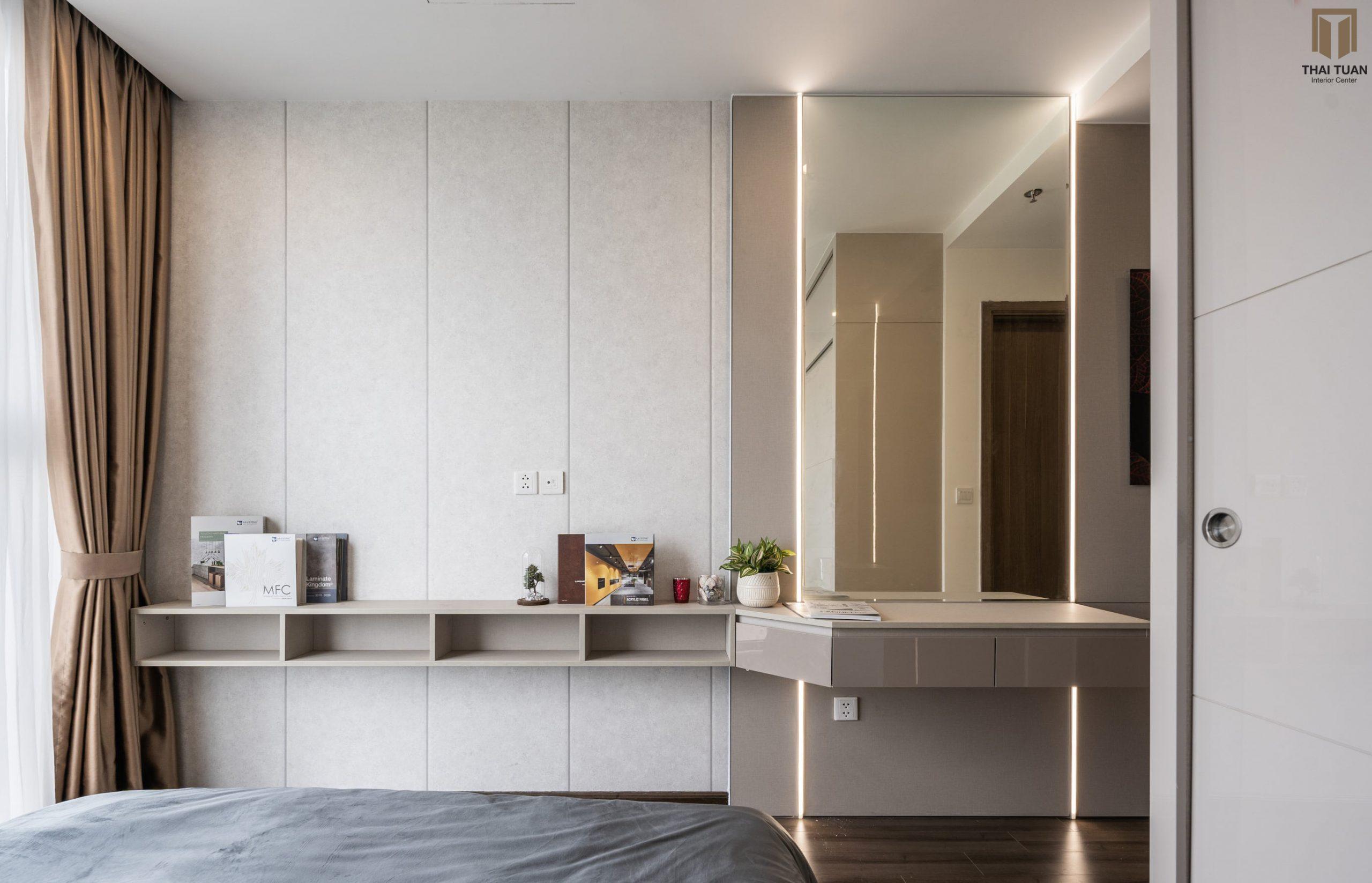 Phòng ngủ master với tone màu trung tính