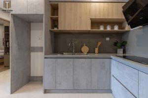 Tủ bếp chữ L mix 2 vật liệu bề mặt Laminate độc đáo