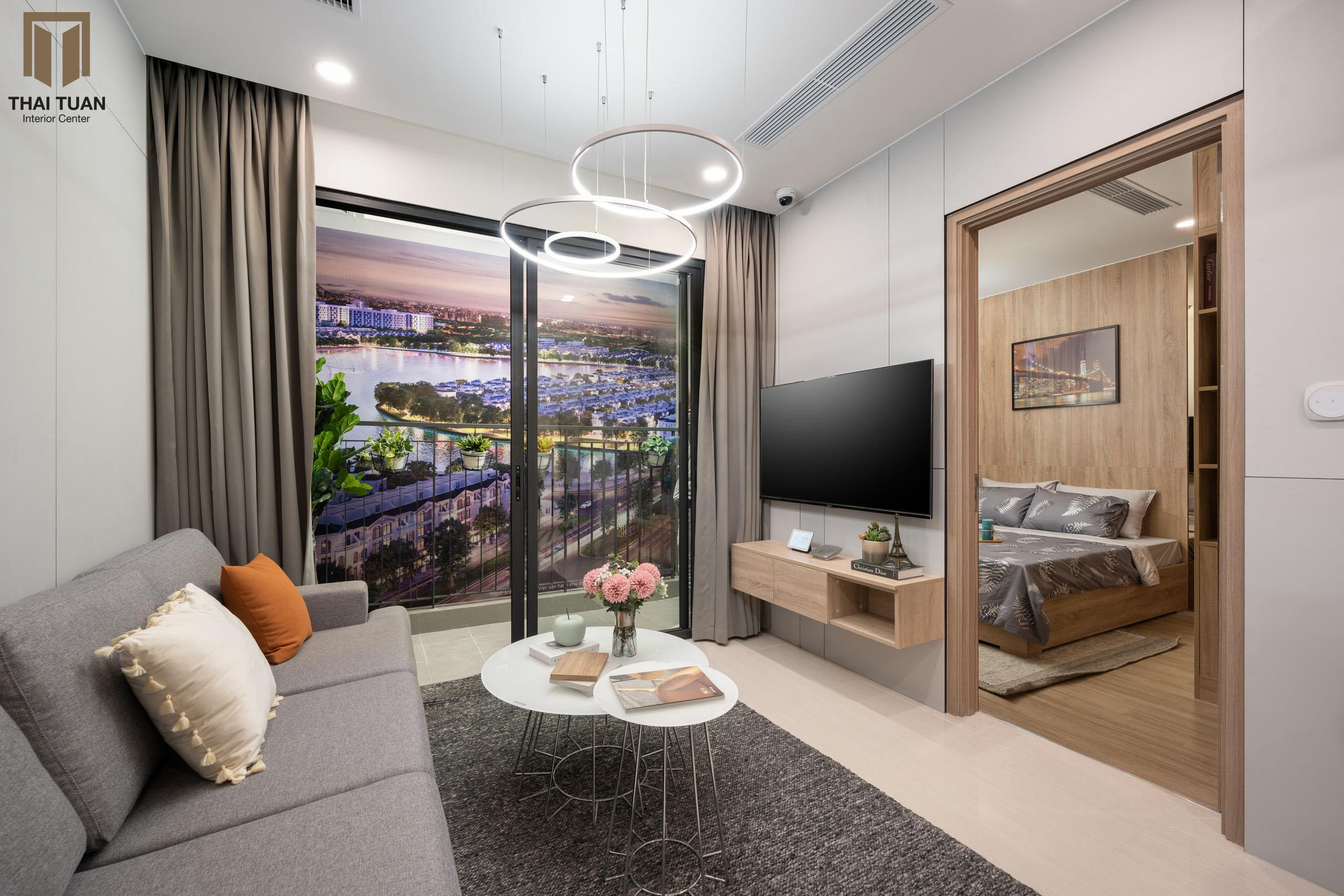 """Phòng khách với view """"đắt giá' hướng ra thành phố"""