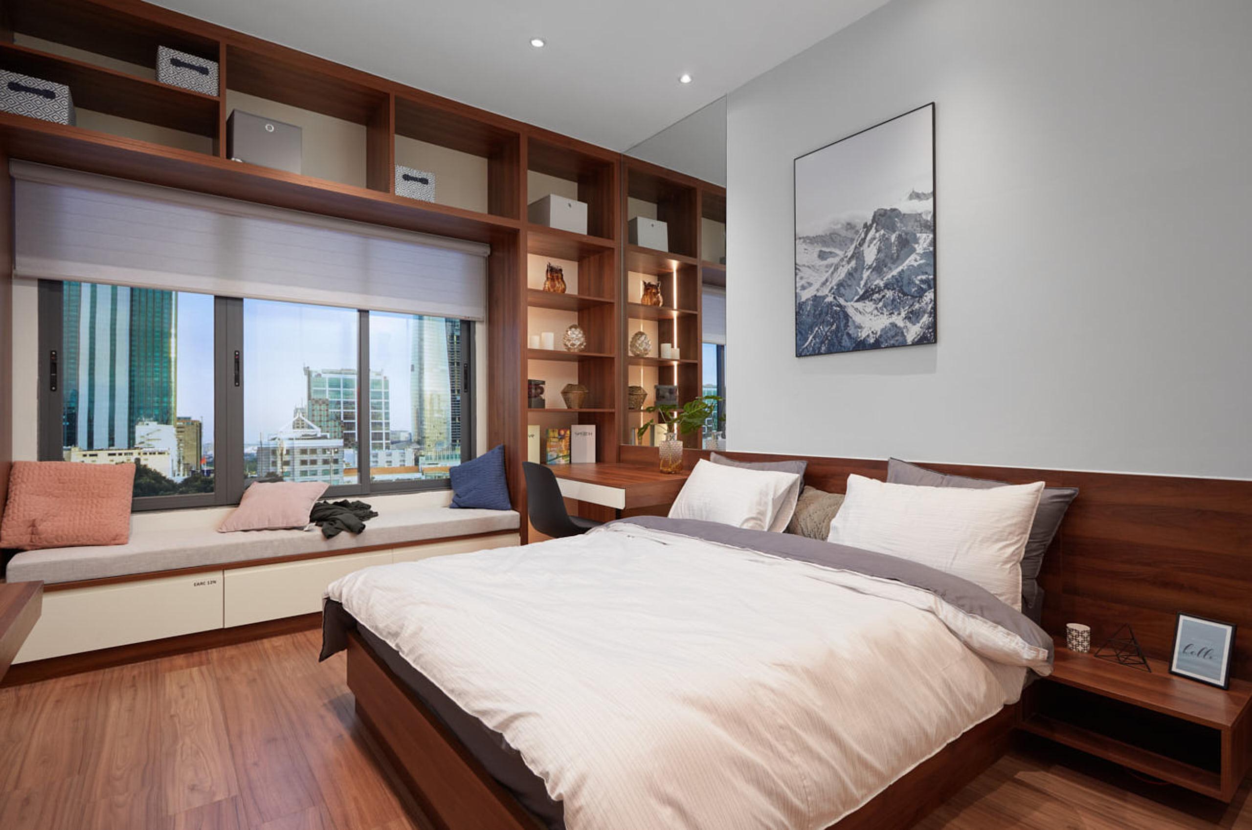 Phòng ngủ được bố trí công năng hợp lí