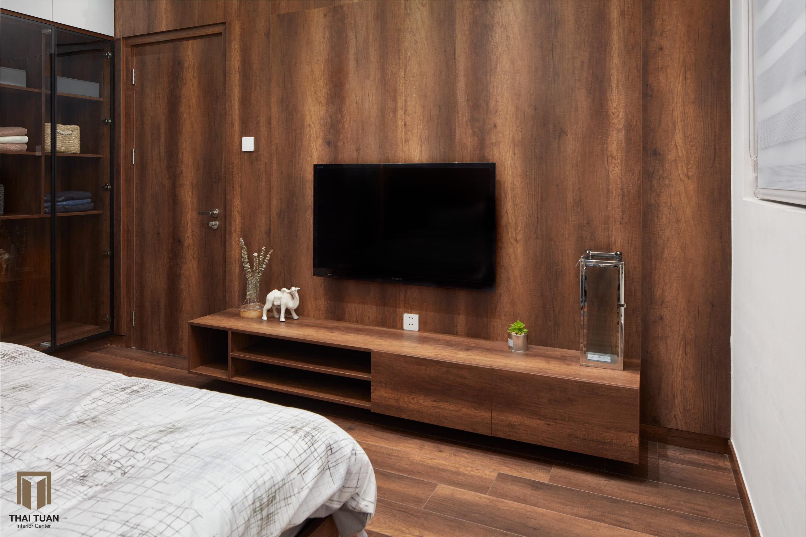 Phòng ngủ ấm cúng nhờ sự đồng bộ của nội thất gỗ công nghiệp