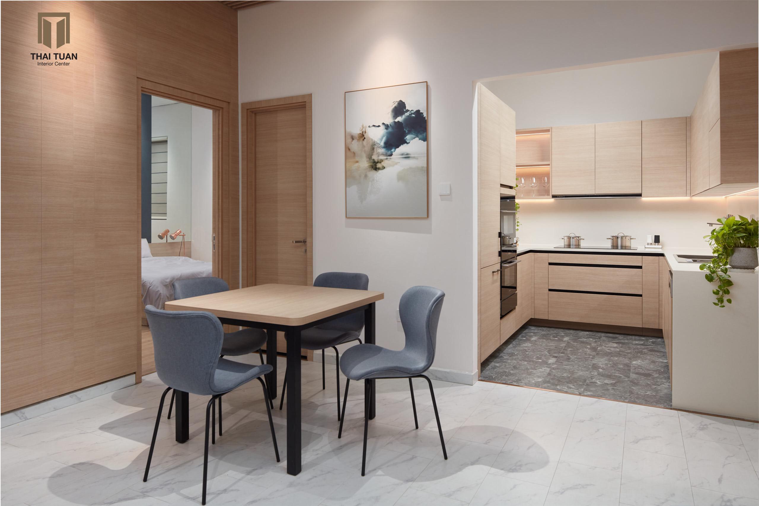 Phòng bếp tách riêng với các không gian khách, ăn