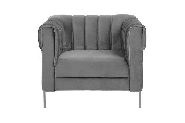Sofa 1 chỗ Saga vải Vic màu xám đậm