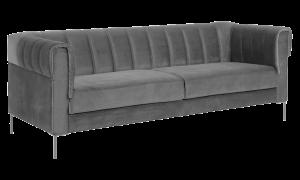 Sofa 3 chỗ Saga vải nhung màu xám đậm 650002363